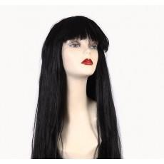 Черный парик с длинными волосами